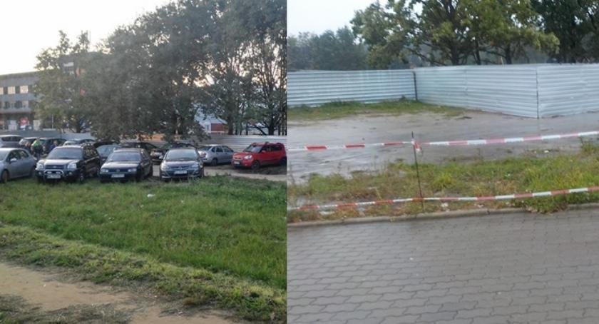 Problemy, Koniec parkowania zieleni Światowida Teren został prowizorycznie odgrodzony - zdjęcie, fotografia